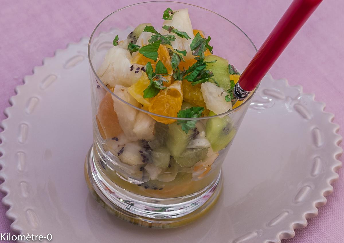 Photo de recette facile, légère healthy de salade de fruits de Kilomètre-0, blog de cuisine réalisée à partir de produits locaux et issus de circuits courts