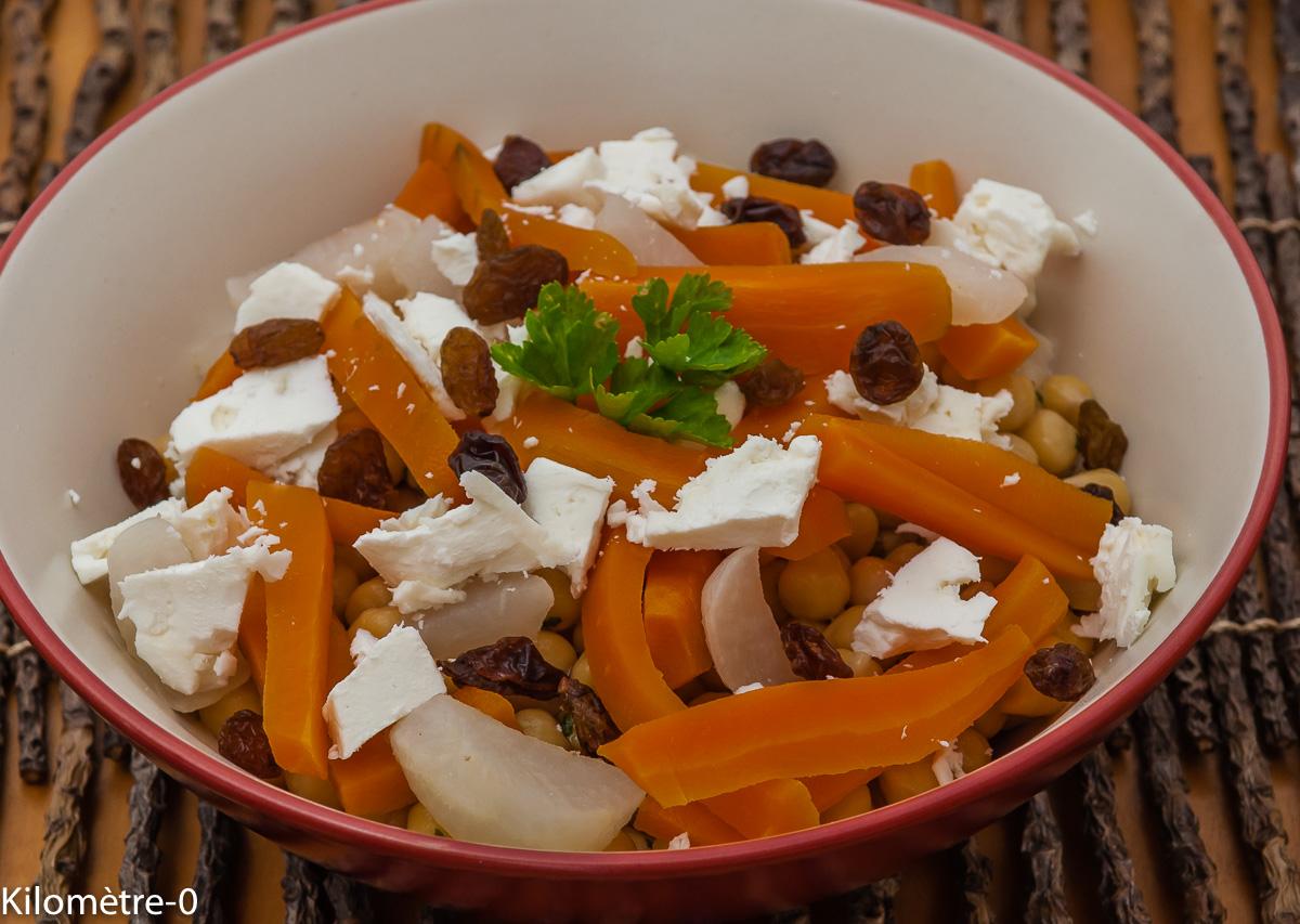 Photo de recette de salade de pois chiche de Kilomètre-0, blog de cuisine réalisée à partir de produits locaux et issus de circuits courts