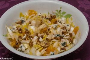 Photo de recette de salade aux endives et oranges de Kilomètre-0, blog de cuisine réalisée à partir de produits locaux et issus de circuits courts