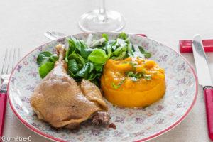 Photo de recette facile, rapide, de confit de canard purée potimarron recette de Kilomètre-0, blog de cuisine réalisée à partir de produits locaux et issus de circuits courts