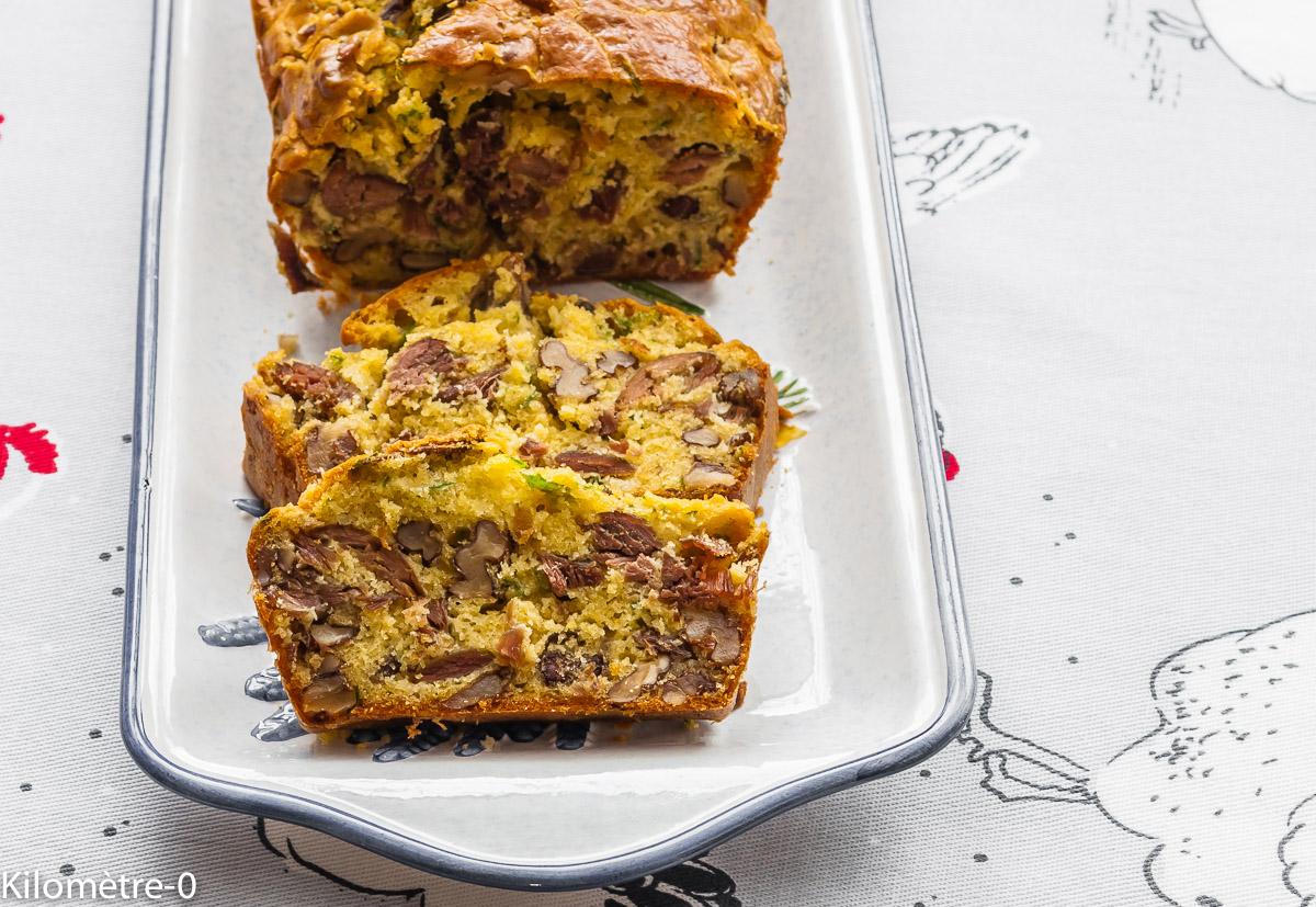 Photo de recette de cake au confit de canard et noix de Kilomètre-0, blog de cuisine réalisée à partir de produits locaux et issus de circuits courts