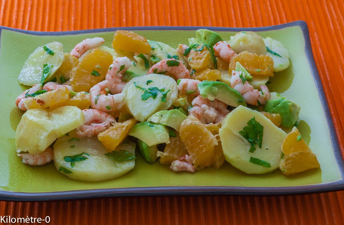 Photo de recette de salade pomme de terre orange crevettes de  Kilomètre-0, blog de cuisine réalisée à partir de produits locaux et issus de circuits courts