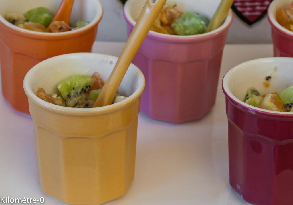 Photo de recette de verrine de kiwis truite fumée de Kilomètre-0, blog de cuisine réalisée à partir de produits locaux et issus de circuits courts