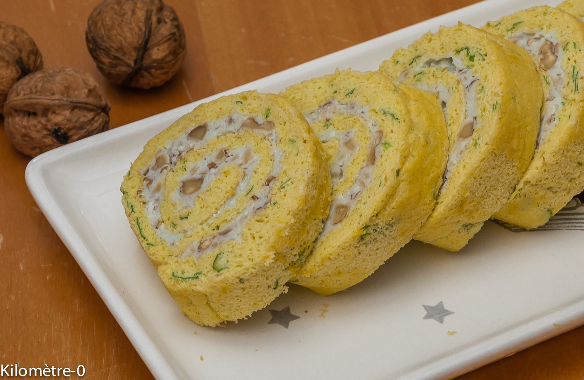 Photo de recette de roulé au roquefort de Kilomètre-0, blog de cuisine réalisée à partir de produits locaux et issus de circuits courts