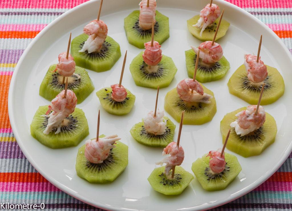 Photo de recette d'apéro kiwi langoustine de  Kilomètre-0, blog de cuisine réalisée à partir de produits locaux et issus de circuits courts