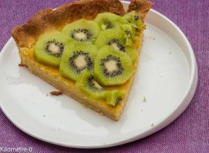 Photo de recette de tarte aux kiwis de Kilomètre-0, blog de cuisine réalisée à partir de produits locaux et issus de circuits courts