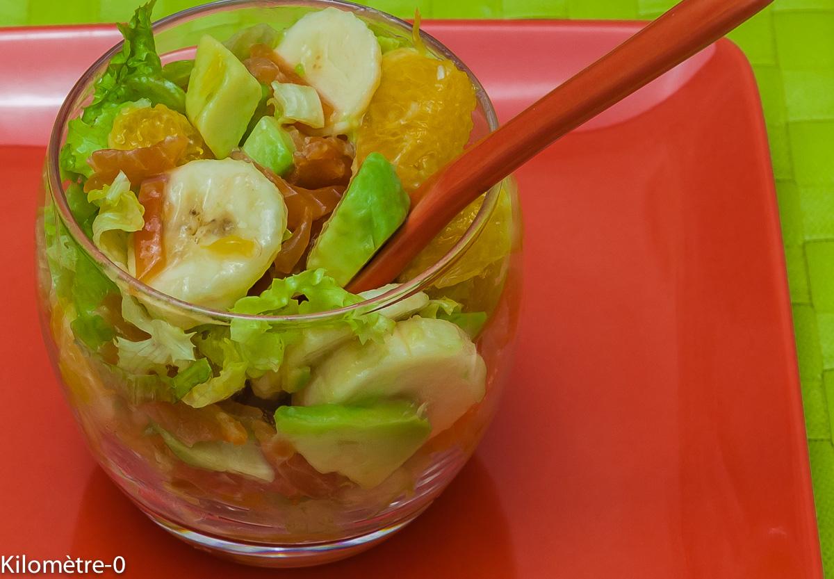 Photo de recette de salade exotique de Kilomètre-0, blog de cuisine réalisée à partir de produits locaux et issus de circuits courts