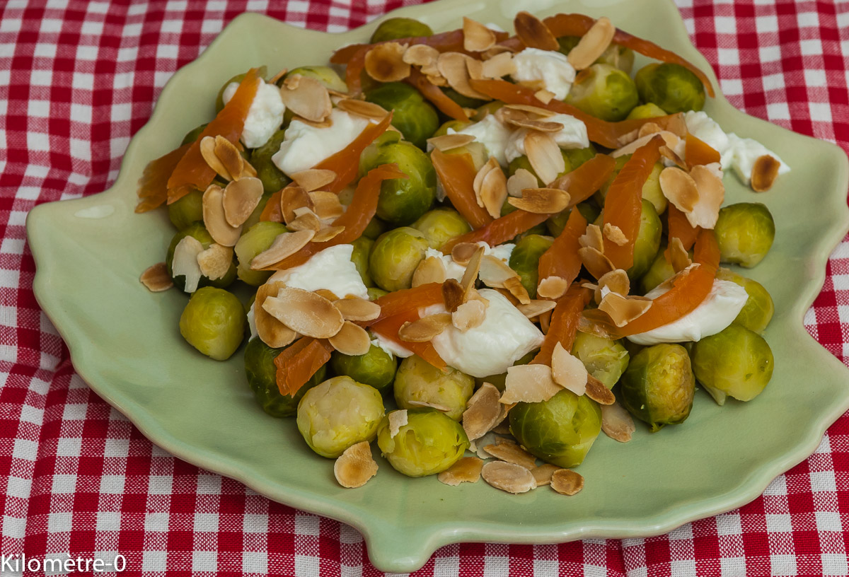 Photo de recette de choux de Bruxelles truite moza deKilomètre-0, blog de cuisine réalisée à partir de produits locaux et issus de circuits courts