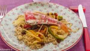 Photo de recette facile, rapide, légère, bio de rouget à la semoule et aux raisins de Kilomètre-0, blog de cuisine réalisée à partir de produits locaux et issus de circuits courts