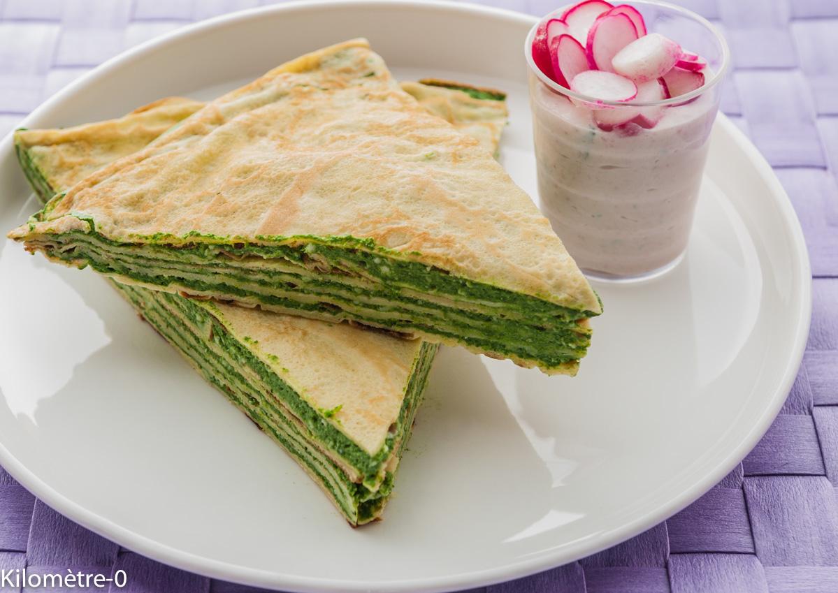 Photo de recette facile, rapide, légère, bio de gâteau de crêpes de Kilomètre-0, blog de cuisine réalisée à partir de produits locaux et issus de circuits courts