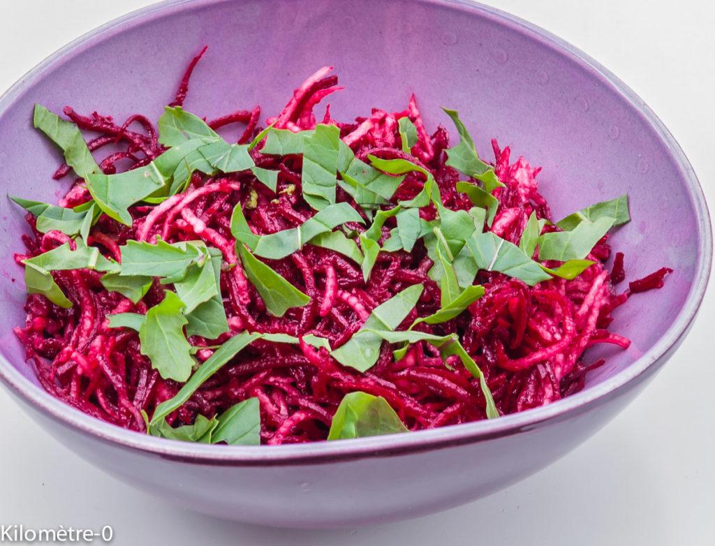 Photo de recette  facile, rapide, légère, bio de salade betterave crue radis noir de Kilomètre-0, blog de cuisine réalisée à partir de produits locaux et issus de circuits courts