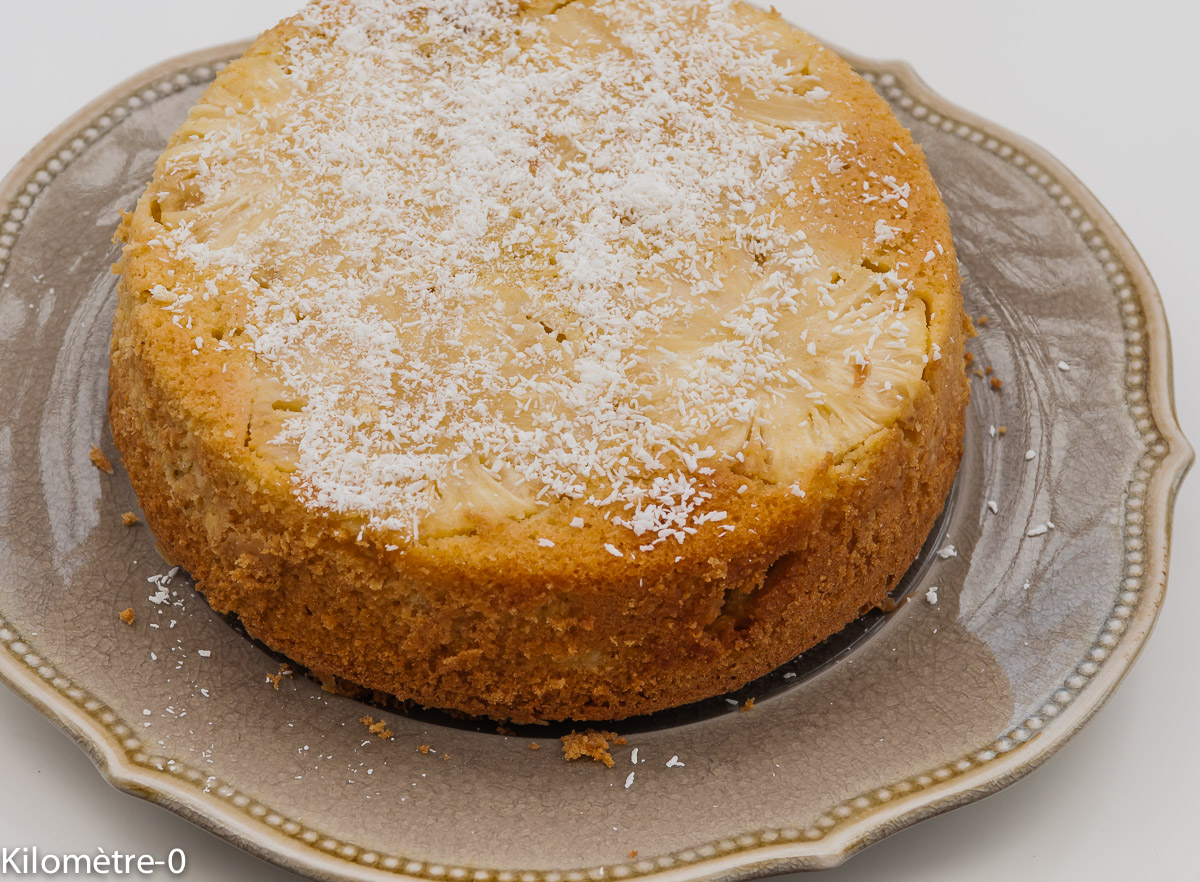Photo de recette facile, rapide, légère, bio de gâteau ananas coco de Kilomètre-0, blog de cuisine réalisée à partir de produits locaux et issus de circuits courts