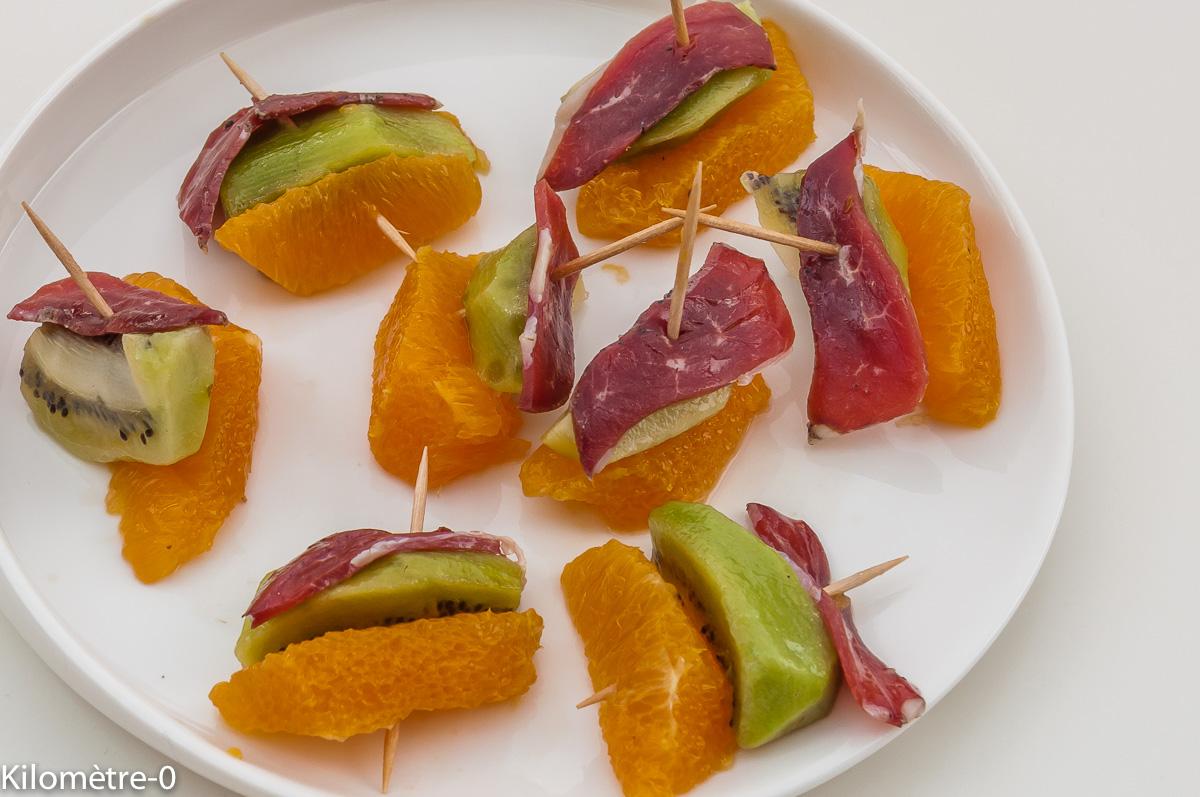 Photo de recette légère, facile, rapide, bio,  de bouchée de kiwi, orange et magret séché apéro de Kilomètre-0, blog de cuisine réalisée à partir de produits locaux et issus de circuits courts