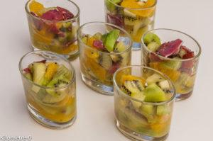 Photo de recette légère, facile, rapide, bio,  de verrines kiwi, orange et magret canard de  Kilomètre-0, blog de cuisine réalisée à partir de produits locaux et issus de circuits courts