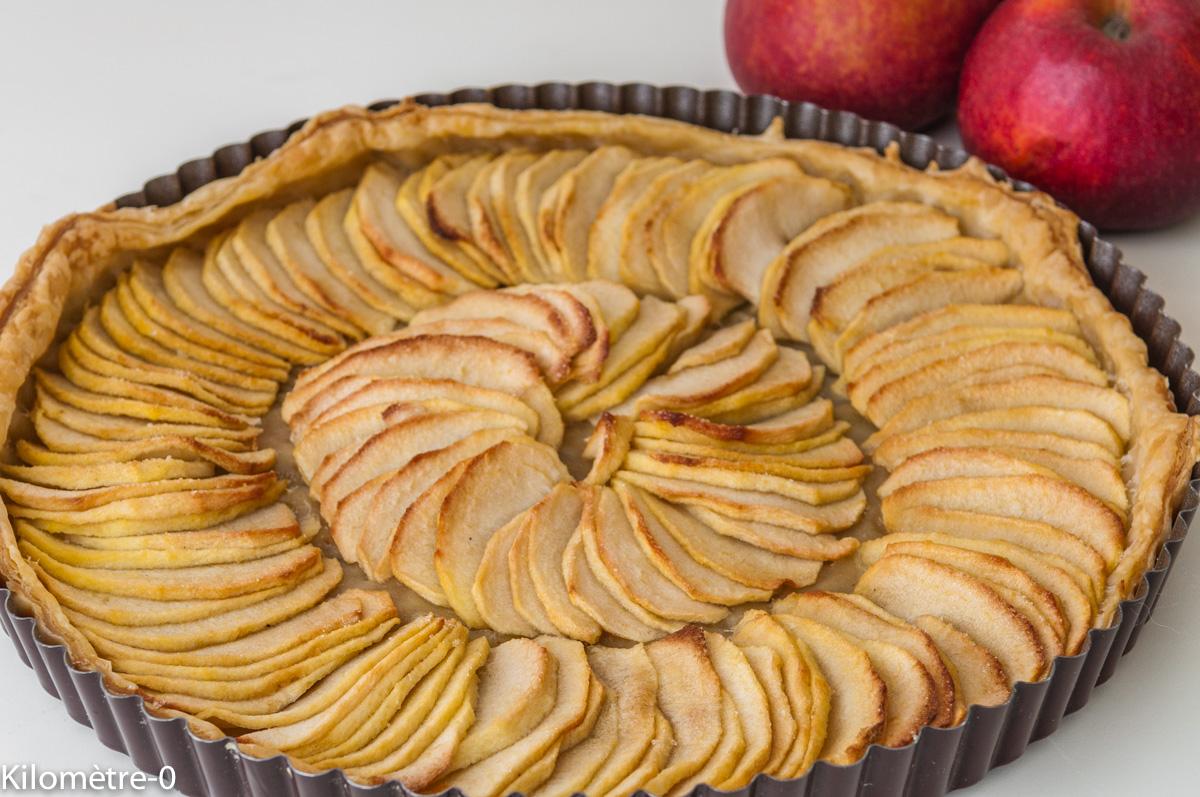 Photo de recette légère, facile, rapide, bio,  de tarte aux pommes de Kilomètre-0, blog de cuisine réalisée à partir de produits locaux et issus de circuits courts