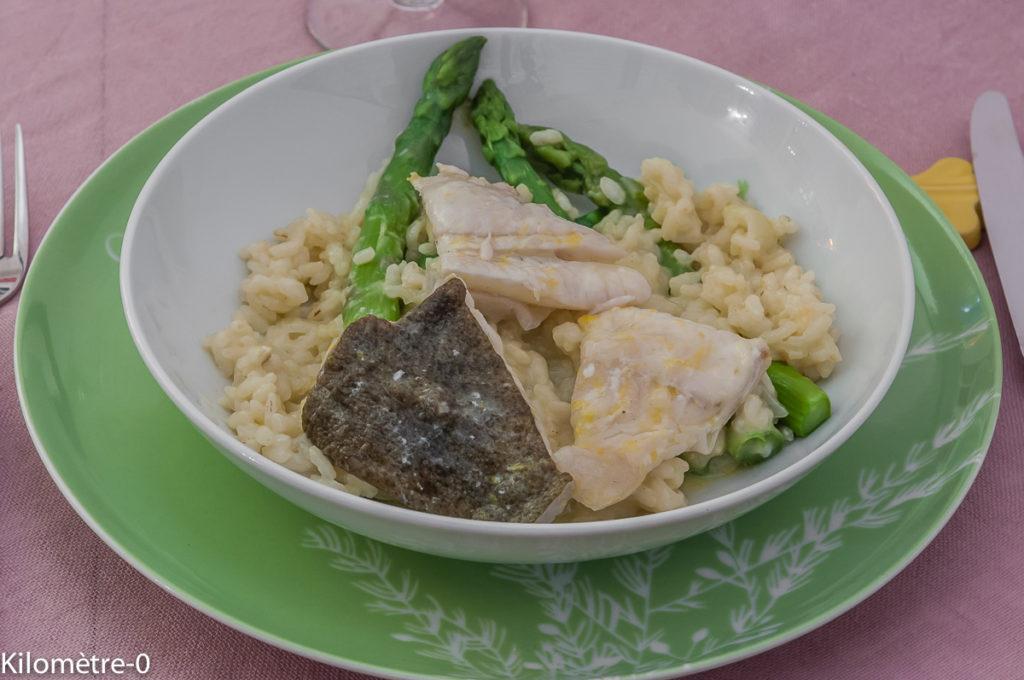 Photo de recette légère, facile, rapide, bio,  de turbot au risotto et asperges vertes de Kilomètre-0, blog de cuisine réalisée à partir de produits locaux et issus de circuits courts