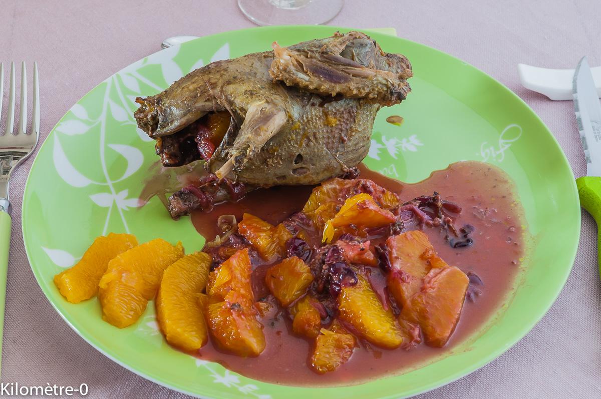 Photo de recette légère, facile, rapide, bio,  de pigeon orange sauce cassis de Kilomètre-0, blog de cuisine réalisée à partir de produits locaux et issus de circuits courts
