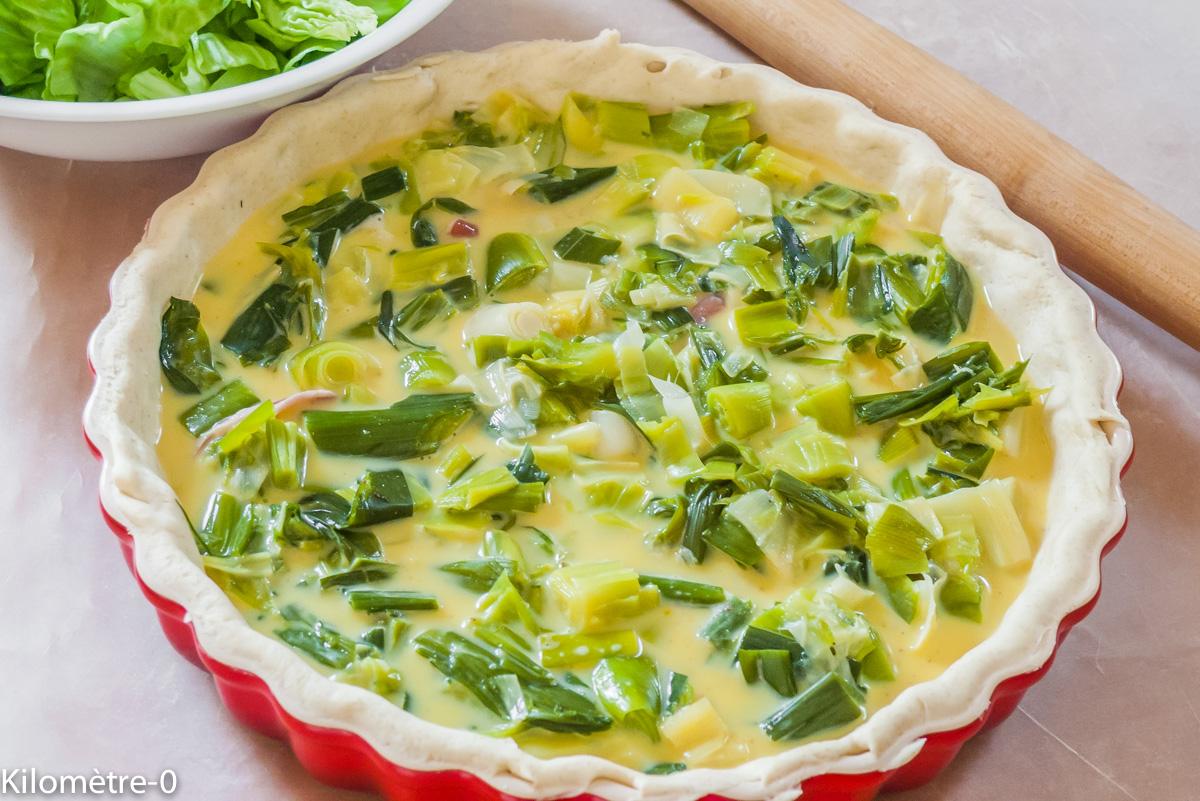 Photo de recette légère, facile, rapide, bio,  de tarte aux poireaux de Kilomètre-0, blog de cuisine réalisée à partir de produits locaux et issus de circuits courts