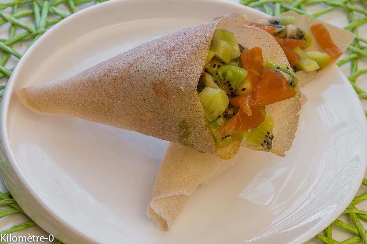 Photo de recette de cornet de kiwis et truite de Kilomètre-0, blog de cuisine réalisée à partir de produits locaux et issus de circuits courts