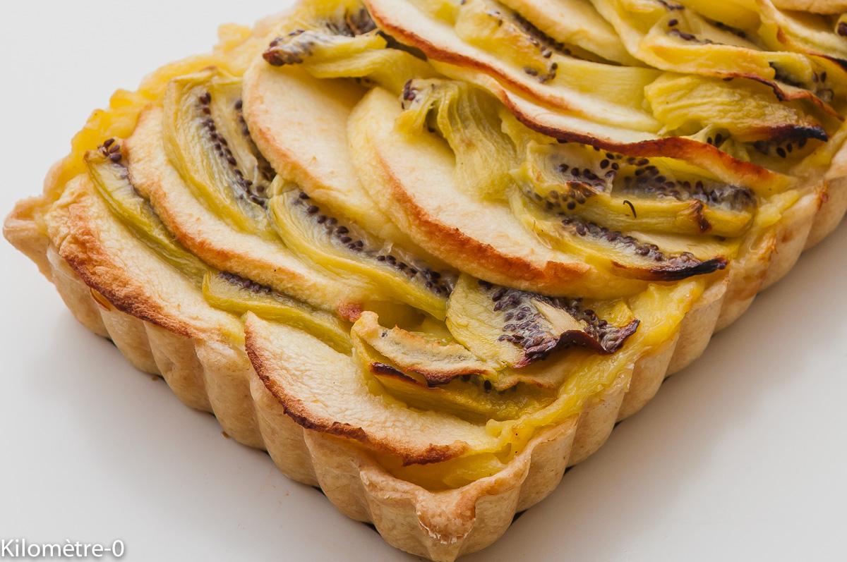 Photo de recette léger, facile, rapide, de tarte à la crème kiwis pomme de Kilomètre-0, blog de cuisine réalisée à partir de produits locaux et issus de circuits courts