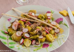 Photo de recette de choux de Bruxelles champignons Kilomètre-0, blog de cuisine réalisée à partir de produits locaux et issus de circuits courts