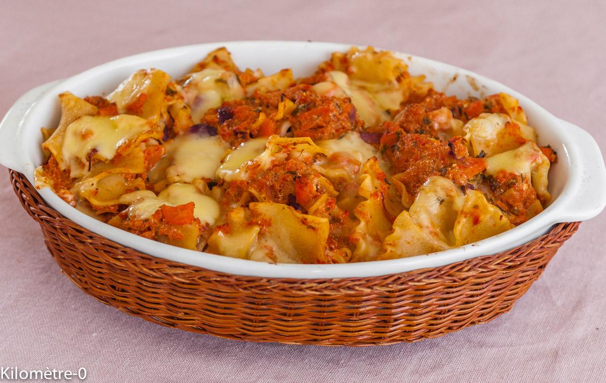 Photo de recette de gratin de pâtes de Kilomètre-0, blog de cuisine réalisée à partir de produits locaux et issus de circuits courts