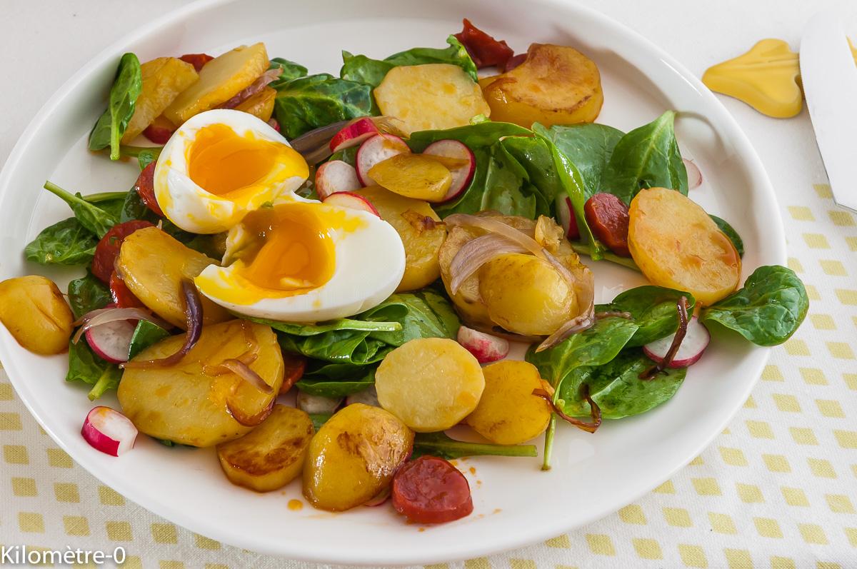 Photo de recette  facile, rapide, légère de pommes de terre chorizo oeuf mollet de Kilomètre-0, blog de cuisine réalisée à partir de produits locaux et issus de circuits courts