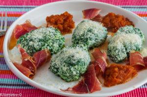 Photo de recette de gnudi de Kilomètre-0, blog de cuisine réalisée à partir de produits locaux et issus de circuits courts