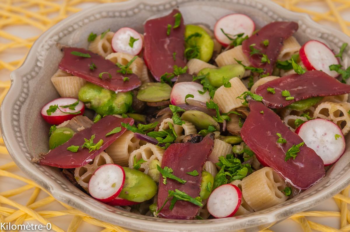 Photo de recette  facile, rapide, légère de salade fèves, pâtes, canard de Kilomètre-0, blog de cuisine réalisée à partir de produits locaux et issus de circuits courts