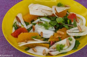 Photo de recette  facile, rapide, légère de salade fenouil orange pignons de pin de  Kilomètre-0, blog de cuisine réalisée à partir de produits locaux et issus de circuits courts