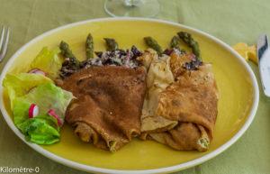 Photo de recette de crêpes aux asperges et cèpes de Kilomètre-0, blog de cuisine réalisée à partir de produits locaux et issus de circuits courts