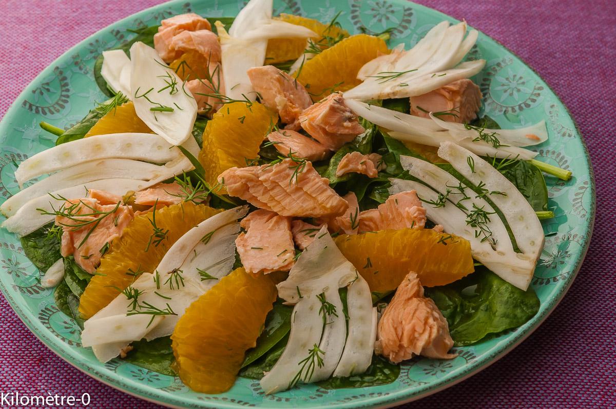 Photo de recette  facile, rapide, légère  de salade fenouil orange saumon de Kilomètre-0, blog de cuisine réalisée à partir de produits locaux et issus de circuits courts