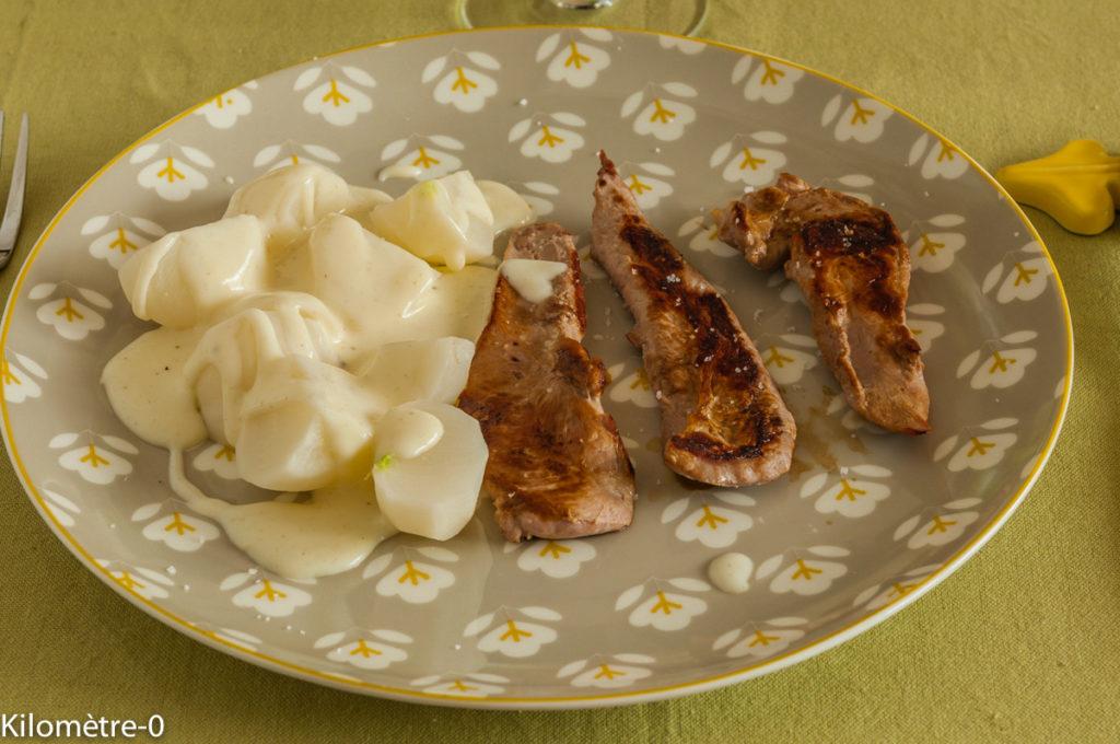 Photo de recette  facile, rapide, légère de canard navets sauce blanche de Kilomètre-0, blog de cuisine réalisée à partir de produits locaux et issus de circuits courts