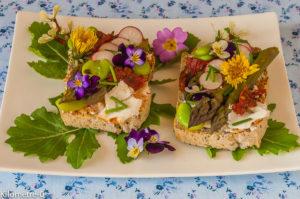 Photo de recette de tartine chèvre frais, fleurs, fèves, asperges de Kilomètre-0, blog de cuisine réalisée à partir de produits locaux et issus de circuits courts