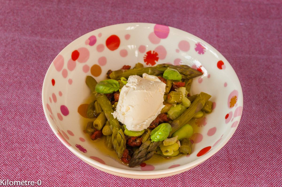 Photo de recette facile, rapide, légère, printemps de salade asperges vertes, tomates confites de Kilomètre-0, blog de cuisine réalisée à partir de produits locaux et issus de circuits courts
