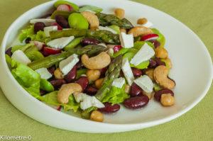 Photo de recette de salade haricots rouges, pois chiches et noix de cajou deKilomètre-0, blog de cuisine réalisée à partir de produits locaux et issus de circuits courts