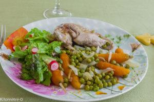 Photo de recette légère, facile, rapide, healthy de  pintade légumes de printemps de Kilomètre-0, blog de cuisine réalisée à partir de produits locaux et issus de circuits courts