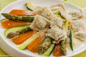 Photo de recette de raviolis aux légumes de printemps de Kilomètre-0, blog de cuisine réalisée à partir de produits locaux et issus de circuits courts