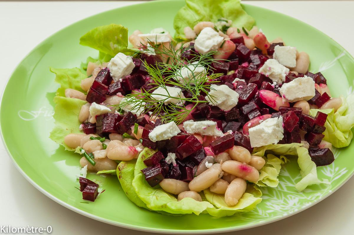 Photo de recette de salade haricots blancs, betterave, fêta de Kilomètre-0, blog de cuisine réalisée à partir de produits locaux et issus de circuits courts