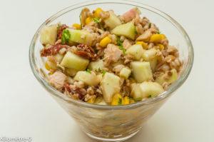 Photo de recette facile, rapide, légère, bio de salade de blé, thon, maïs de Kilomètre-0, blog de cuisine réalisée à partir de produits locaux et issus de circuits courts