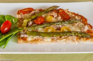 Photo de recette de pizza thon asperges de Kilomètre-0, blog de cuisine réalisée à partir de produits locaux et issus de circuits courts