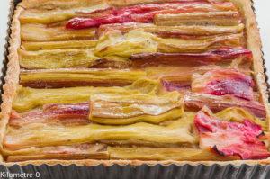 Photo de recette de tarte rhubarbe de Kilomètre-0, blog de cuisine réalisée à partir de produits locaux et issus de circuits courts