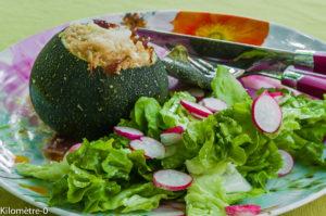 Photo de recette de courgettes farcies semoule et fêta de Kilomètre-0, blog de cuisine réalisée à partir de produits locaux et issus de circuits courts