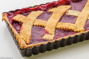 Photo de recette de tarte au coulis de framboises de Kilomètre-0, blog de cuisine réalisée à partir de produits locaux et issus de circuits courts