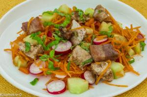 Photo de recette de salade carottes, radis, concombre, dinde, poitrine fumée de Kilomètre-0, blog de cuisine réalisée à partir de produits locaux et issus de circuits courts