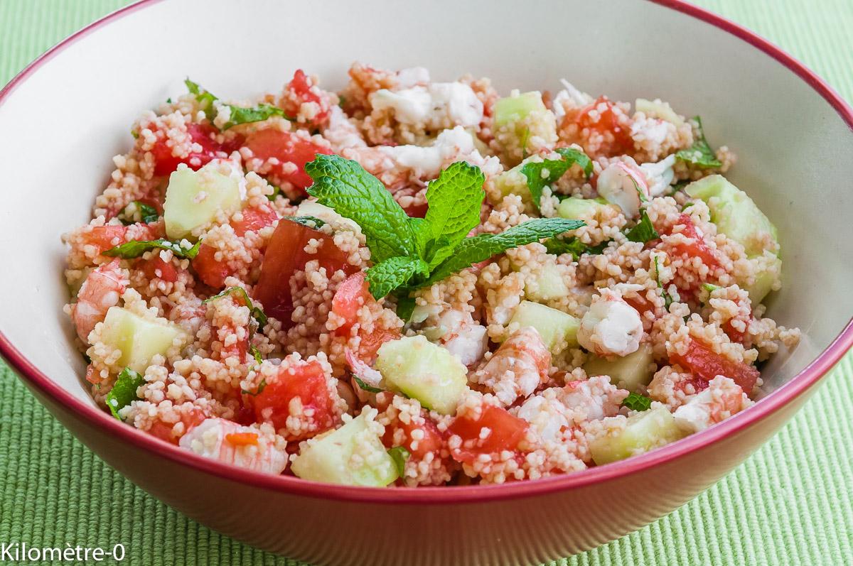 Photo de recette de taboulé langoustines de Kilomètre-0, blog de cuisine réalisée à partir de produits locaux et issus de circuits courts