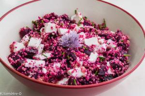 Photo de recette de salade semoule betterave et chèvre de Kilomètre-0, blog de cuisine réalisée à partir de produits locaux et issus de circuits courts