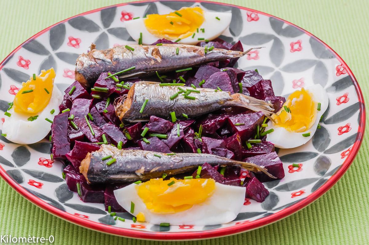 Photo de recette de salade de betterave rouge, sardines et oeufs de Kilomètre-0, blog de cuisine réalisée à partir de produits locaux et issus de circuits courts