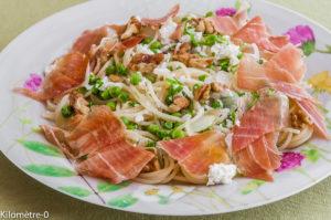 Photo de recette de spaghetti primavera de Kilomètre-0, blog de cuisine réalisée à partir de produits locaux et issus de circuits courts