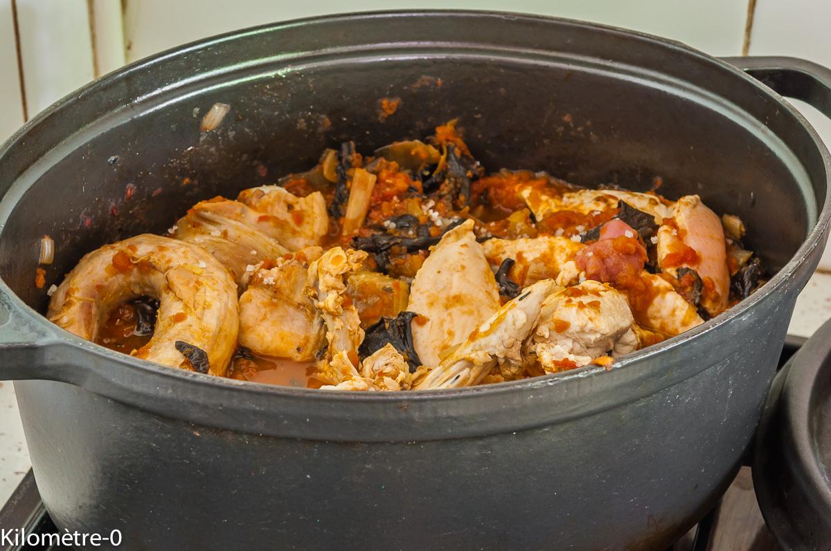 Photo de recette de poulet chasseur de Kilomètre-0, blog de cuisine réalisée à partir de produits locaux et issus de circuits courts